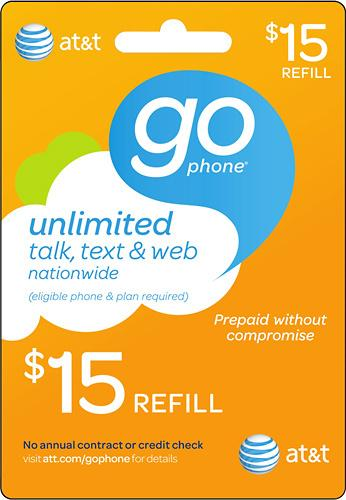 $15 AT&T GoPhone Prepaid Wireless Airtime Card