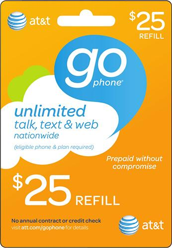$25 AT&T GoPhone Prepaid Wireless Airtime Card