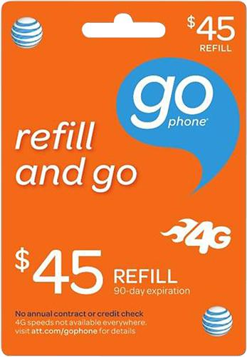 $45 AT&T GoPhone Top-Up Prepaid Card