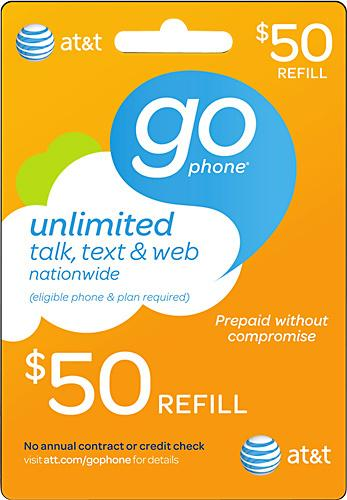 $50 AT&T GoPhone Prepaid Wireless Airtime Card
