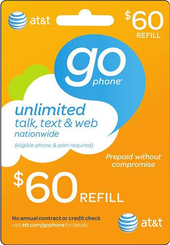 $60 AT&T GoPhone Prepaid Wireless Airtime Card