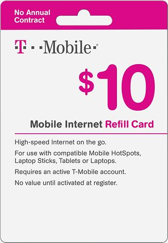 $10 T-Mobile Top-Up Prepaid Mobile Internet Card